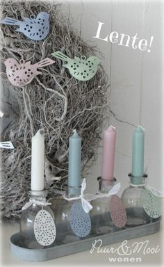 Spring! Pastel House, Personalized Candles, Welcome Spring, Beautiful Candles, Table Centerpieces, Happy Easter, Candlesticks, Pillar Candles, Light In The Dark