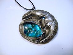 Vintage Moonlight blue & silver polymer clay and by LynzCraftz