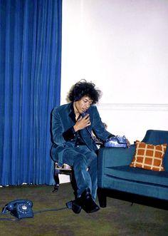 Jimi Hendrix photographed by Petra Niemeier at home Montagu Square, London, 1967.