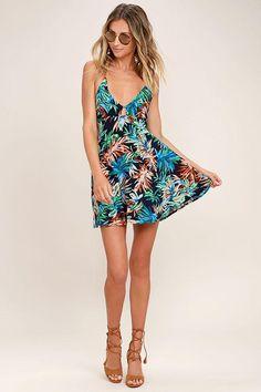 #AdoreWe #Lulus Lulus Samana Bay Navy Blue Floral Print Dress - AdoreWe.com