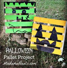 Got some pallets? Here's a cool Halloween Pallet Project that involved making fun faces!
