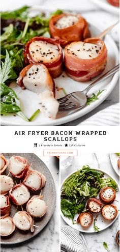 Air Fryer Bacon Wrapped Scallops are elegant enough to impress guests yet easy enough to make any weeknight. The scallops are juicy and tender on the inside, with crisp golden bacon on the outside! Air Fryer Oven Recipes, Air Fry Recipes, Air Fryer Dinner Recipes, Ww Recipes, Seafood Recipes, Cooking Recipes, Healthy Recipes, Healthy Food, Skinnytaste Recipes
