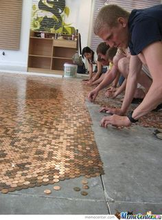 Copper Tile Your Floor for only pennies - $1.44 per square foot to be exact!   [http://www.memecenter.com/fun/164631/copper-tile-1-44-sq-ft] #funny #copper #tile #pennies #penny #floor #flooring Cellar, Animal Print Rug, My House, Repurposed, Girl Crushes, Floors, Stud Earrings, Bath, Flats