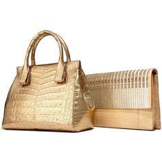 Nancy Gonzalez Daisy Small Crocodile Bag ($3,695) ❤ liked on Polyvore featuring bags, handbags, croc embossed leather handbags, real leather purses, croco embossed leather handbags, zip purse and genuine leather handbags