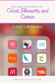 cricut hacks Best Apps and Websites for Cricut, Silhouette, and Cameo Users - Sarah Rachel Finke Cricut Apps, Cricut Help, Cricut Vinyl, Cricut Craft Room, Diy Cutting Board, Cricut Tutorials, Scrapbooking, Diy Home Crafts, Creative Crafts