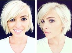 Short Haircut Style 2016 - love the chin length with long side bangs and how it flips out