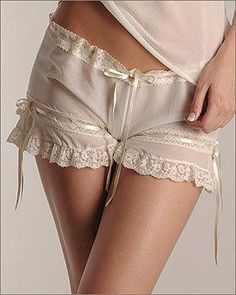 Sheer tap cami knickers with eyelet ribbon and soft lace