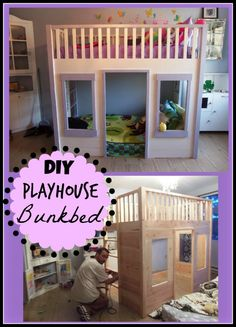 """DIY Playhouse Bunkbed. Being frugal, we have not spent a whole lot of money on stuff for our kids. I try to find creative ways to get their toys, books and clothing for cheap or free. Still – somehow they have acquired a ton of stuff. My two girls share a bedroom, so the """"stuff"""" problem was twice as bad."""