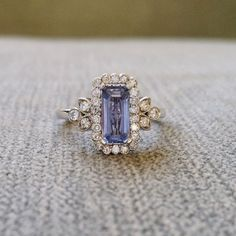 "Victorian Light Blue Sapphire Halo Diamond Flower Gemstone Engagement Ring Antique Filigree Emerald Cut 14K White Gold "" The Margaret"" – HOLY HELL THIS IS GORGEOUS!!! @Kendelle Pelot"