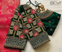 Gorgeous bottle green color designer blouse with hand embroidery gold thread and stone work on sleeves and neckline. Wedding Saree Blouse Designs, Pattu Saree Blouse Designs, Blouse Designs Silk, Designer Blouse Patterns, Hand Work Blouse Design, Simple Blouse Designs, Stylish Blouse Design, Diana, Maggam Works