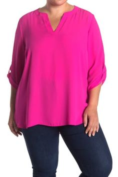 Chaus Split Neck 3/4 Sleeve Blouse - (Plus Size) Red Jeans, Plus Size Blouses, Color Pop, Casual Outfits, Nordstrom, Tunic Tops, Sleeves, Canada, Construction