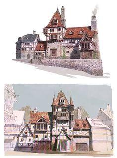 Ideas For House Drawing Perspective Building Fantasy Town, Fantasy Castle, Fantasy House, Fantasy World, Landscape Concept, City Landscape, Fantasy Landscape, Landscape Model, Building Sketch