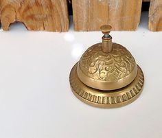 Vintage Brass Hotel Desk Bell Service Ornate Antique Push Ring | eBay