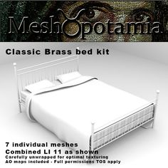 This kit consists of 7 individual meshes with strong LOD and logical unwrapping. 7 AO maps are included Meshopotamia's meshes are carefully . Brass Bed, Mattress, Kit, Bedroom, Classic, Furniture, Home Decor, Derby, Decoration Home