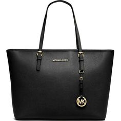 MICHAEL MICHAEL KORS Jet Set Travel medium saffiano leather tote (1,370 MYR) ❤ liked on Polyvore featuring bags, handbags, tote bags, purses, accessories, bolsas, black, michael kors handbags, travel handbags and travel purse