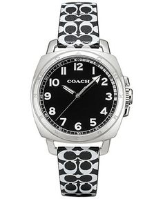 COACH WOMEN'S BOYFRIEND BLACK AND WHITE LEATHER STRAP WATCH 34MM 14502000 - COACH - Handbags & Accessories - Macy's $178.00