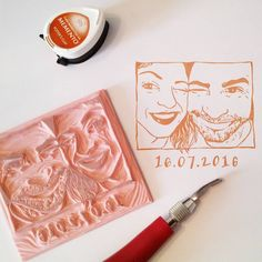 Handcarved portrait stamp by www.pearlstopigeons.etsy.com - wedding stationery - save the date
