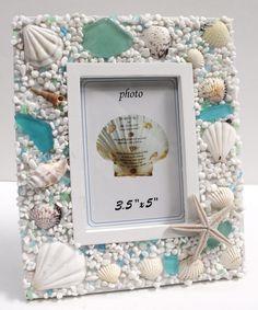 Sea Glass Whiate 3.5 x 5 Picture Frame - Beach Cottage Decor