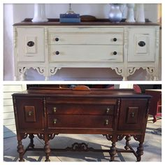 Vintage buffet refinished and Annie Sloan chalk painted in cream. Distressed and soft waxed.