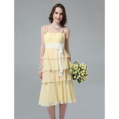 Lanting+Bride®+Longueur+Genou+Mousseline+de+soie+Robe+de+Demoiselle+d'Honneur+-+Fourreau+/+Colonne+Bretelles+FinesPomme+/+Sablier+/+–+EUR+€+68.59