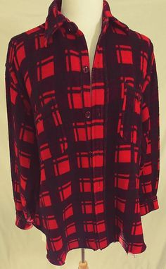 07ed31cc Vintage 1970's/80's Champion Buffalo Plaid Flannel Shirt/Jacket. Retro  Mackinaw Woodsman Cruiser