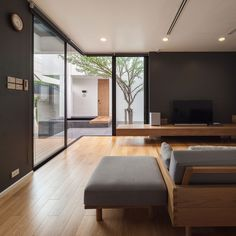 Image 15 of 27 from gallery of Twin House / Poetic Space Studio. Photograph by Ketsiree Wongwan Luxury Interior, Home Interior Design, Interior Architecture, Interior Decorating, Zen Living Rooms, Style Japonais, Luxury Homes Dream Houses, Japanese Interior, Minimalist Interior