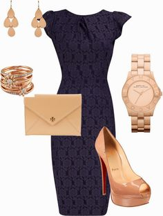 Classy Outfits | Navy and Rose Gold  Navy Lace Dress, Christian Louboutin Shoes, TORY BURCH Clutch, Marc by Marc Jacobs Bracelet, Irene Neuwirth Earrings  by shannonos