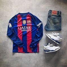 WEBSTA @ raph_is_a_joke - M É S Q U E U N C L U B ❤️Today's fit...Nike Barcelona 2016/2017 Home KitLevi's 511 Denim pantsAir Jordan True Blue 2011