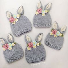 Shop designer kids fashion and accessories for girls and boys including Mini Rodini, Little Unicorn, Dockatot and Spearmint LOVE. Shipping in the US is always free.This is the sweetest little bunny hat with a crown of knitted flowers between the ears. Knitted Hats Kids, Baby Hats Knitting, Knitting For Kids, Baby Knitting Patterns, Knitting Projects, Crochet Projects, Crochet Patterns, Crochet Hats, Crochet Girls