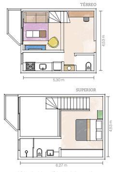 única obra feita no dúplex foi o fechamento da cozinha, antes aberta para a sala, com drywall. Até o carpete original se manteve nos pisos do térreo e do quarto.                                                                                                                                                                                 Mais
