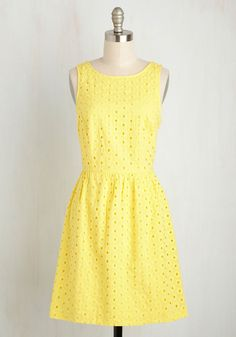 Rays Your Grand Dress. Bring sunshine to everyones day by wearing this retro dress from Kensie! #yellow #modcloth