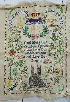 Queen Elizabeth II Coronation Sampler Crewel 1953