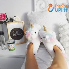 Comfy Magical Unicorn Slippers #me #inspireuplift #fun #love #AntiSlipSoles #comfort #AnimalSlippers #BatteryOperated #CheeksLightUp #BatteryPowered  These slippers are simply ADORABLE! Our Comfy Magical Unicorn Slippers are so cute, you\'ll have a hard time keeping them from your friends. You might even want to think about buying an extra pair for a gift! They\'re not just cute, though... these slippers actually light up when they\'re on! The On/off switch is hidden in the slipper and when turned on, the unicorn\'s cheeks light up with a rainbow of colors. The slippers are silky soft with pastel, rainbow colored manes and safe horns for kids. The anti-slip soles and extra cushioning make these super comfy! Details: Fits Women\'s size 6 up to size 12 (One size fits all) Powered by two CR2032 batteries. Choose from White, Purple and Pink