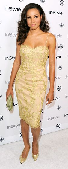 Va-va-voom! Friday Night Lights actress Jurnee Smollett in a Chagoury gold lace cocktail dress.