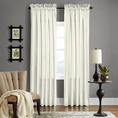 Grand Luxe Pearl Linen Gotham Rod Pocket Curtain Panel