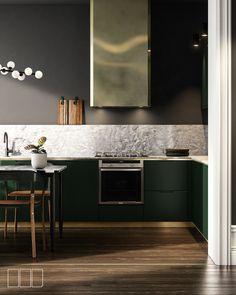 NYC Apartment on Behance Kitchen Dinning, Kitchen And Bath, New Kitchen, Kitchen Decor, Gold Kitchen, Küchen Design, House Design, Cuisines Design, Apartment Interior