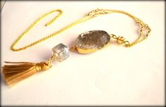 Grey Agate, Druzy Necklace, Tassel Necklace, Druzy Agate, Agate Gold Plated, Long Necklace