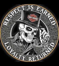 Respect is Earned Loyalty Returned Biker Skull Full color Graphic Decal Sticker - Chopper - Motorrad Harley Davidson Logo, Harley Davidson Chopper, Harley Davidson Kunst, Classic Harley Davidson, Harley Davidson Street, Harley Davidson Motorcycles, Harley Davidson Stickers, Hd Fatboy, Vw Touran