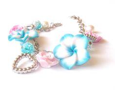 Floral Bracelet Blue Pink Roses Flowers Floral Jewelry Silver Bracelet Charm Bracelet Heart Charms Girly Bracelet