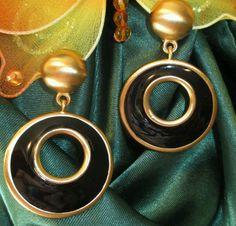 Anne Klein #Earrings Designer signed gold Tone black enamel Hoop Clip Rare NM #AnneKlein #Hoop Anne Klein, Black Enamel, Designer Earrings, Vintage Jewelry, Hoop Earrings, Number, Gold, Fashion Show, Jewels