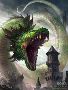 Pillan by Eedenartwork dragon snake god town city village attack poison fangs monster beast creature animal   Create your own roleplaying game material w/ RPG Bard: www.rpgbard.com   Writing inspiration for Dungeons and Dragons DND D&D Pathfinder PFRPG Warhammer 40k Star Wars Shadowrun Call of Cthulhu Lord of the Rings LoTR + d20 fantasy science fiction scifi horror design   Not Trusty Sword art: click artwork for source