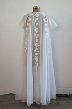 Vintage White Night Gown  Over Coat  House Dress  by VeraVague