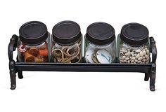 "Cast Iron Stand w/ 4 Glass Jars on OneKingsLane.com   10""w x 3.5""d x 5.5""h   57.00 retail   29.00 OKL"