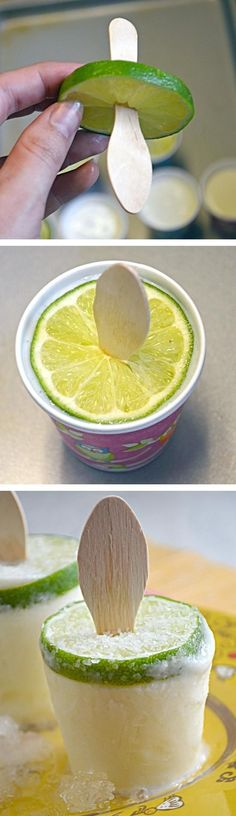 ½ cup sugar  1 cup water  1 cup fresh-squeezed lime juice  ¼ cup silver tequila  ¼ cup orange liqueur  12 3 oz. disposable paper cups + popsicle sticks   Heat water and sugar in small saucepan until sugar is dissolved. Let cool. Pour into pitcher with lime juice, tequila, and orange liqueur. Pour 5 Tbsp of margarita into each cup. Freeze for 2 hours, then insert popsicle sticks. Freeze overnight.