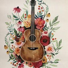 Guitare et lArt de fleurs aquarelle | Etsy Easy Kids Art Projects, Easy Art For Kids, Realistic Drawings, Art Drawings Sketches, Easy Drawings, Art Aquarelle, Art Watercolor, Art Floral, Pintura Hippie