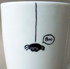 Little black spider cute hand painted mug boo by PaintMyName