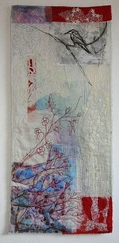 textile art by Cas Holmes - Red Berries, Free Motion Embroidery, Free Machine Embroidery, Embroidery Art, Embroidery Stitches, Art Fibres Textiles, Textile Fiber Art, Textile Artists, Fabric Art, Fabric Crafts