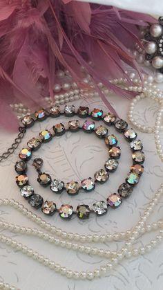 Items similar to BEST SELLER Brown Sugar Shimmer Necklace Genuine Swarovski crystal set in Gunmetal mounting on Etsy Swarovski Jewelry, Crystal Jewelry, Swarovski Crystals, Silver Jewelry, Gold Jewellery, Vintage Jewelry, Fine Jewelry, Jewelry Making, Tennis Necklace