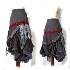 Convertible Victorian Modern Hustle Bustle Skirt - ONE of a KIND - Gray Linen and denim - Romantic frilly Hobo rock star Fashion Steampunk Skirt, Steampunk Clothing, Steampunk Fashion, Gothic Fashion, Star Fashion, Boho Outfits, Vintage Outfits, Fashion Outfits, Bustle Skirt