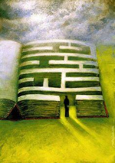 Each book has its maze / Cada libro tiene su laberinto (ilustración de Marcin Bondarowicz)